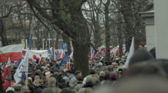 Demonstration to Defend Democracy in Warsaw.  People shouting to protest. Stock Footage