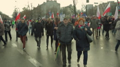 Demonstration to Defend Democracy in Warsaw. front of the March. Wide angle. Stock Footage