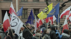 Demonstration. Polish Ministry of Foreign Affairs in the background. Stock Footage