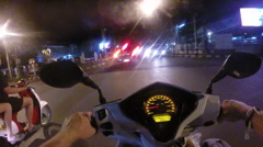 Motorcycle Nighttime Ride in Chiang Mai, Thailand Stock Footage
