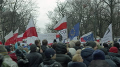 Demonstration to Defend Democracy in Warsaw. Panning left and right, flags. Stock Footage