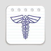 Caduceus emblem doodle icon Stock Illustration