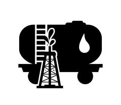 Oil tank and oil rig icon Stock Illustration