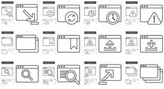 Application line icon set Stock Illustration