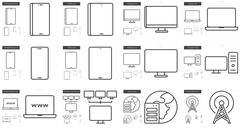 Gadgets line icon set Stock Illustration