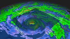 Hurricane Dennis Eye 3D Radar Stock Illustration