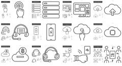 Mobility line icon set Stock Illustration