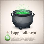 Happy Halloween card with a boiling witch cauldron Stock Illustration