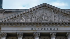 Real time pan shot from right to left of Bundesrat building in Berlin, Germany. Stock Footage