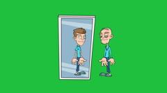 Old Man in the Mirror, Version #2:  Matte + Loop Stock Footage