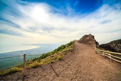 Vesuvius path around crater, Italy Stock Photos
