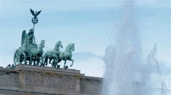 Real Time Medium shot of the Brandenburg Gate in Berlin. Locked down camera. Stock Footage