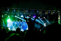 Black silhouette of young girl on rock concert Stock Photos