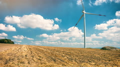 Country landscape with wind turbines. Ecological concept. 4K Stock Footage