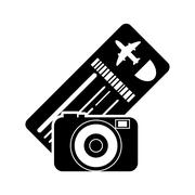 Boarding pass or ticket and camera  icon Stock Illustration