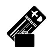 Boarding pass or ticket and suitcase icon Stock Illustration