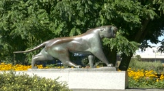 4K Lion statue Grugapark Park Essen NRW Germany Europe Stock Footage