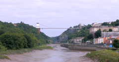 View of the Clifton suspension bridge Stock Footage