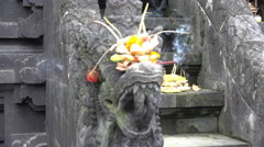 4k Indonesia holy bat temple pagode dragon sculpture smoking joss stick Stock Footage