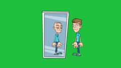 Old Man in the Mirror, Version #1:  Matte + Loop Stock Footage