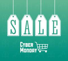 Shopping cart labels and cyber monday design Piirros