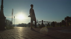 Athlete training at the open air in summer season Stock Footage