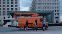 Estiblishing shot of the Potsdamer Platz undeground entrance in Berlin. Stock Footage