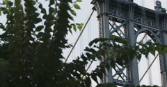 Manhattan Bridge - establishing shot - sunset - summer 2016 - 4k Stock Footage