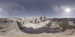 Tower of David, Jerusalem old city Near Jaffa gate 360 video VR Stock Footage