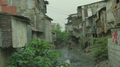 View of slum area Stock Footage