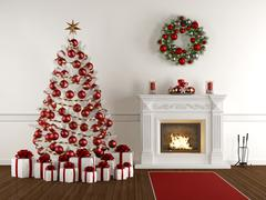 Christmas interior with classic fireplace Piirros