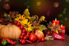 Autumnal fruits and vegetables. Stock Photos
