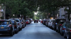 Quiet NYC Street In Morning Light Stock Footage