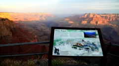 Lookout point during the sunrise at the Grand Canyon Stock Footage