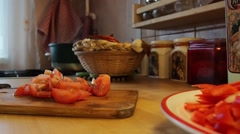 Fast cooking,  cutting tomatoes Stock Footage