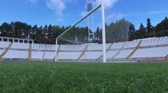 Goal net stadium soccer football field turf steady shot gimbal 4k Stock Footage