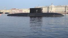 "Russian submarine ""Krasnodar"" (class Improved Kilo) with missile system Kalibr Stock Footage"