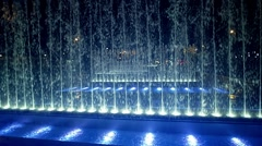 Fountains in Zagreb by night Stock Footage