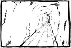 Outline sketch of long underground passage with copy space Stock Illustration