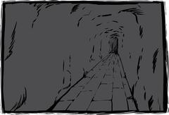 Long underground passage with copy space Stock Illustration