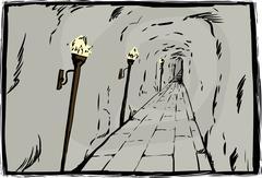 Burning torches in underground passage Stock Illustration