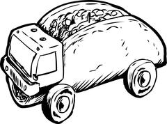 Single Beef Taco Dump Truck Sketch Stock Illustration