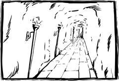 Sketch of torches in underground passage Stock Illustration