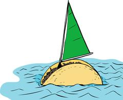 Floating Taco Sailboat with Green Sail Stock Illustration