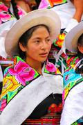 Portrait of a young woman performing during Festival of the Virgin de la Cand Stock Photos