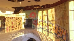 Sunrise walking inside an abandoned building  paintings and graffiti gimbal 4k Arkistovideo