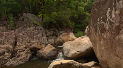 Large Boulders on Mountain River Cascade in Park Stock Footage