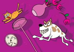 Cat and dog pet fight Stock Illustration