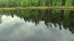 Drone Day Fly Over Water With Bog and Trees in Adirondacks New York Stock Footage