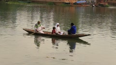 People in boat on the lake of Srinagar, Jammu and Kashmir , India Stock Footage